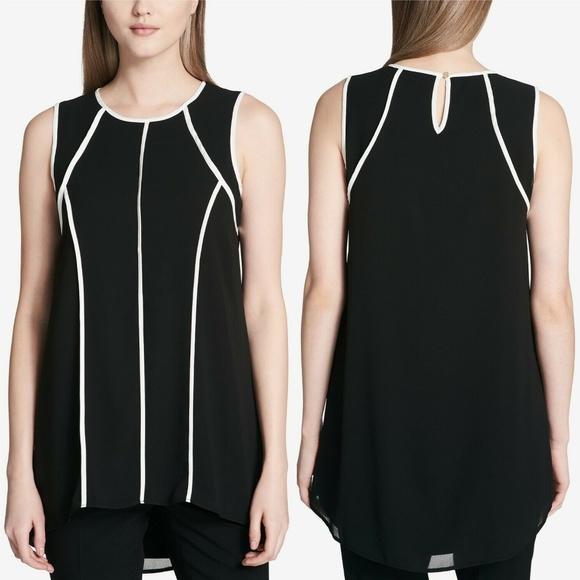 Calvin Klein Tops - Calvin Klein Black White Pipe-Trim Chiffon Tunic